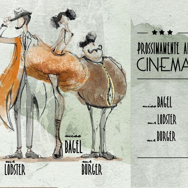 Illustrazioni Vetrine Cinema Burger Bar